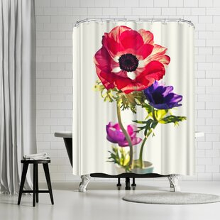 Mirja Paljakka Anemones In Vase Bright Light Single Shower Curtain