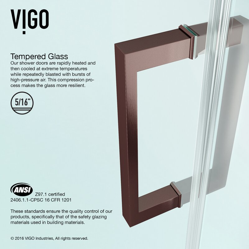 Vigo Soho 2625 X 7063 Hinged Adjustable Frameless Shower Door