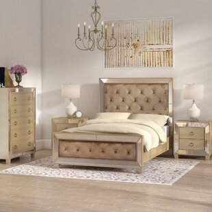 Alasdair Mirrored Tufted Platform 4 Piece Bedroom Set