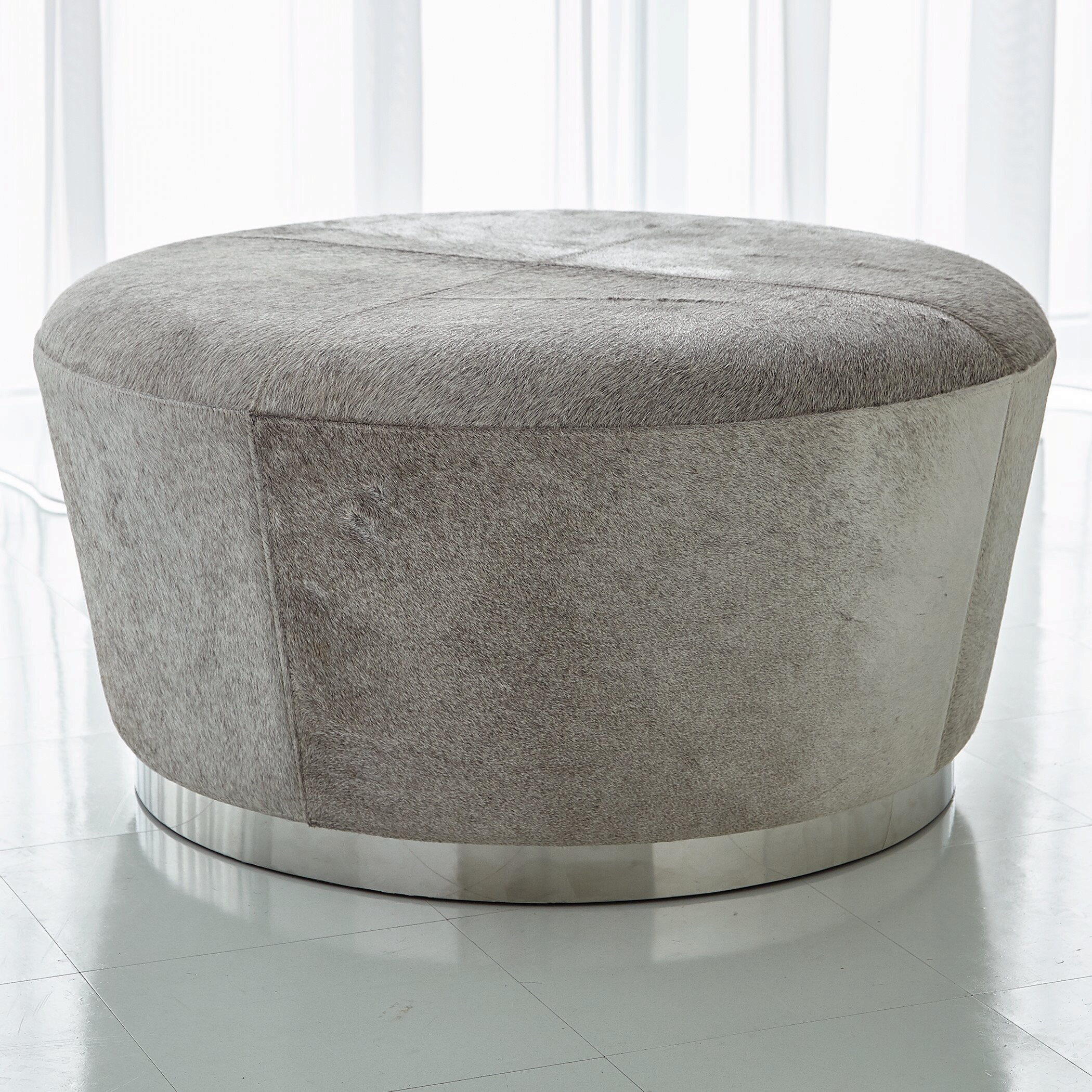 Studio A Tapered Leather Cocktail Ottoman Perigold