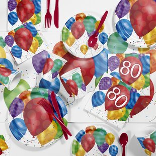 Balloon Blast 80th Birthday Party Paper/Plastic Supplies Kit (Set of 81)