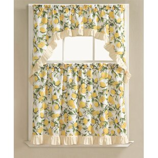 Genial Storer Lemon Fest Kitchen Curtain Set (Set Of 3)
