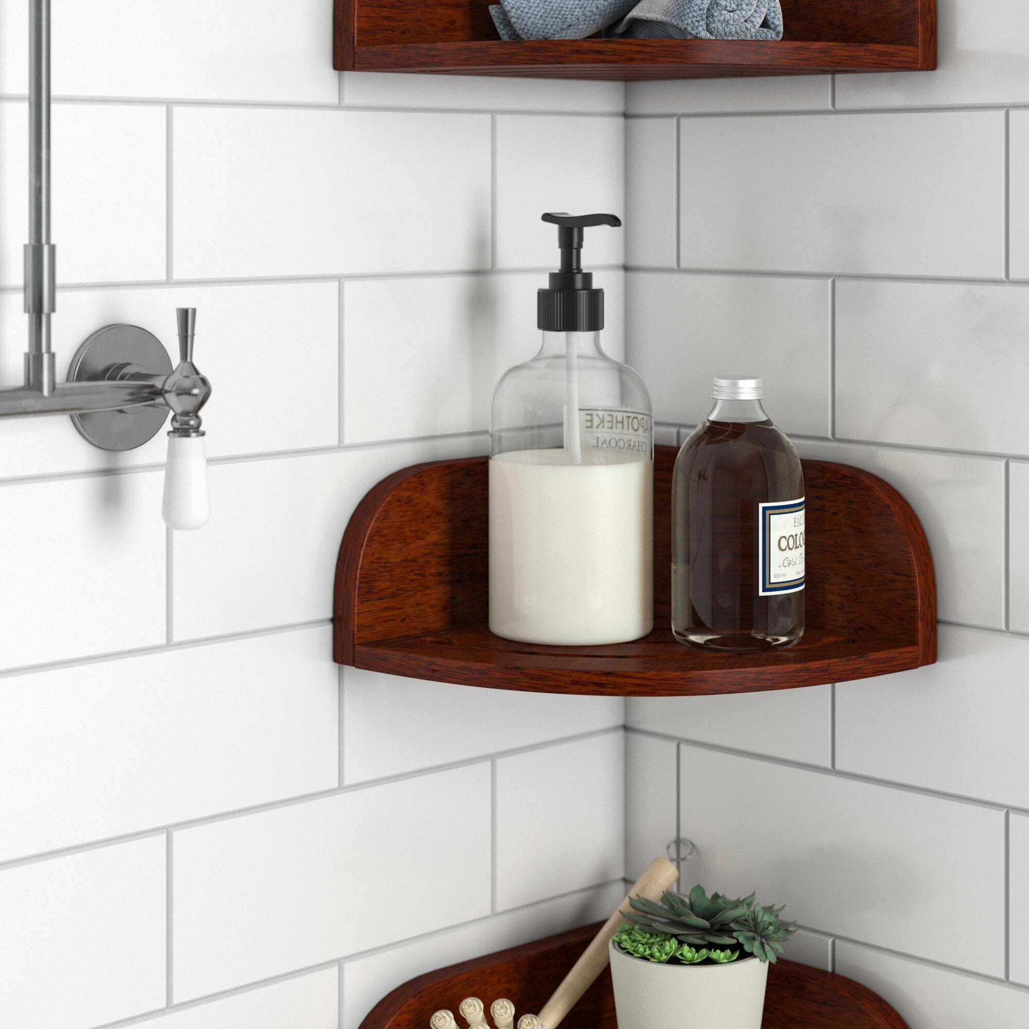 rebrilliant teak shower shelf reviews wayfair rh wayfair com in shower shelf ideas built in shower shelves