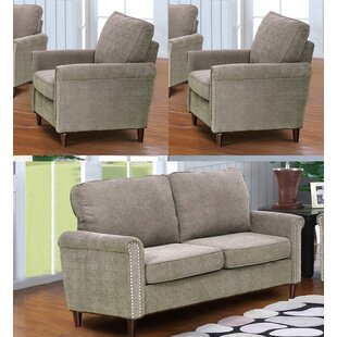 Hayton Fabric Modern 3 Piece Living Room Set by Charlton Home