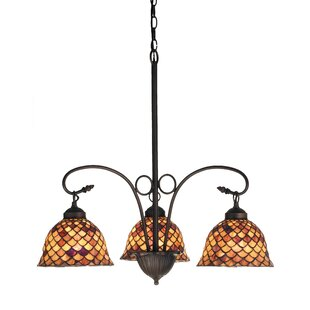 Meyda Tiffany Victorian Tiffany Fishscale 3-Light Shaded Chandelier