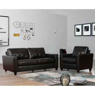17 Stories Dion 2 Piece Leather Living Room Set (Set of 2)