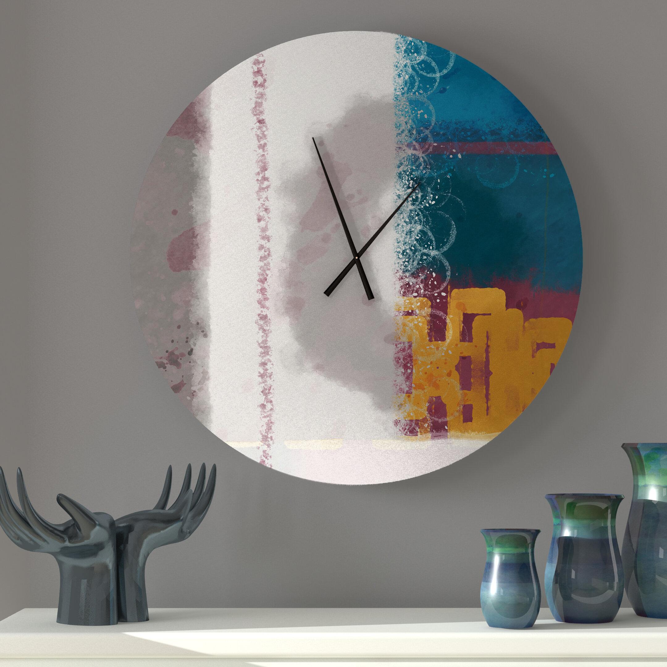 Latitude Run Organic Enlivening Abstract Metal Wall Clock Wayfair