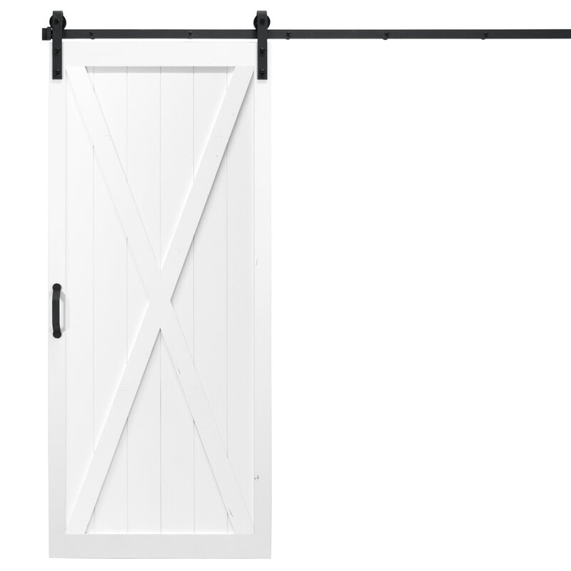 Classic X Solid Panel Wood Slab Interior Barn Door