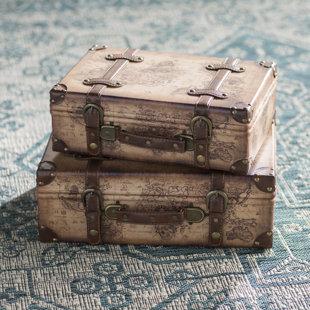 World Menagerie Prem Old World Map Leather Vintage Style 2 Piece Trunk Set