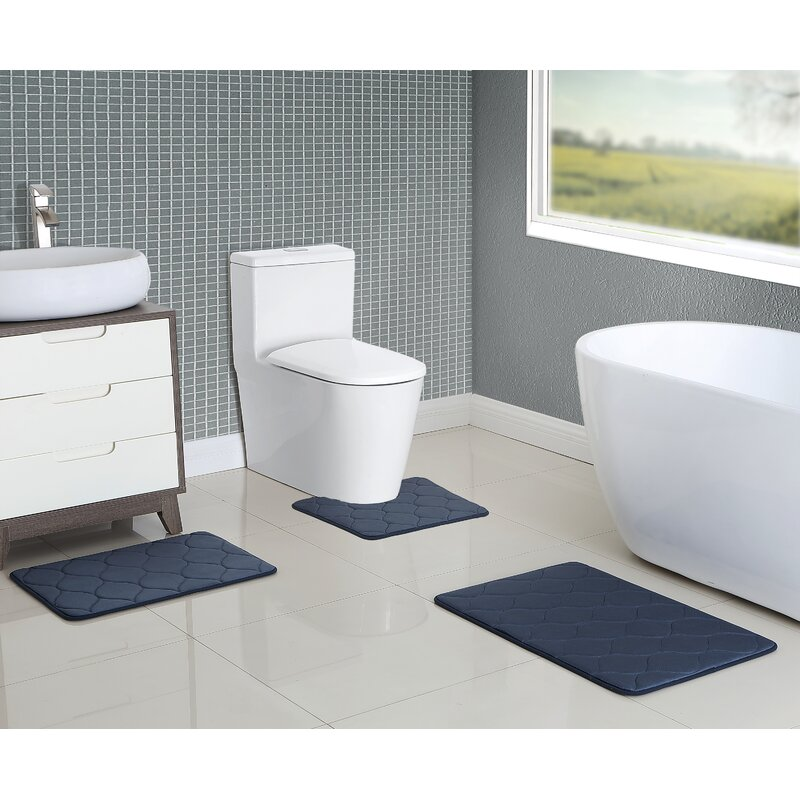 younkin memory foam 3 piece bath rug set - 3 Piece Bathroom Rug Sets