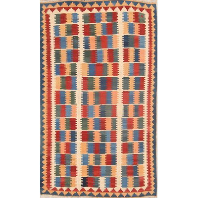 One Of A Kind Kya Kilim Shiraz Persian Traditional Hand Knotted 42 X 73 Wool Blueburgundycream Area Rug Isabelline