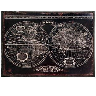 antique world map framed wall art