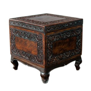 Sofie Tradition Mohena Wood and Leather End Table with Storage
