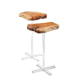 Arbor Side Tables in Natural Fir Wood on Acrylic Stand (Set of 2)