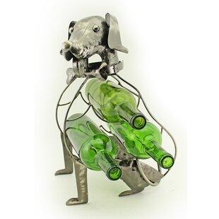 Wine Bodies Foreside Sitting Dog 3 Bottle Tabletop Wine Holder