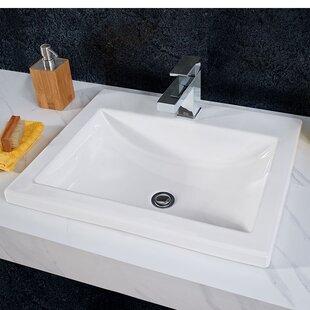 American Standard Studio Vitreous China Rectangular Drop-In Bathroom Sink with Overflow