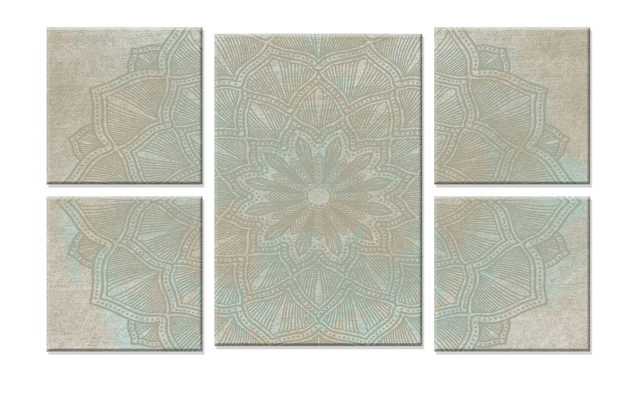Stupell industries tan and blue mandala 5pc stretched multi size tan and blue mandala 5pc stretched multi size canvas wall art set dailygadgetfo Gallery