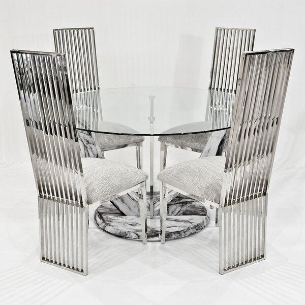 Kipp Circular Dining Set With 4 Chairs by Metro Lane
