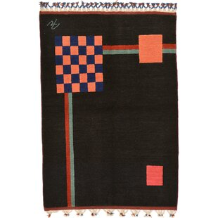 Reviews One-of-a-Kind Everby Hand-Tufted 3'5 x 4'11 Wool Black Area Rug By Isabelline