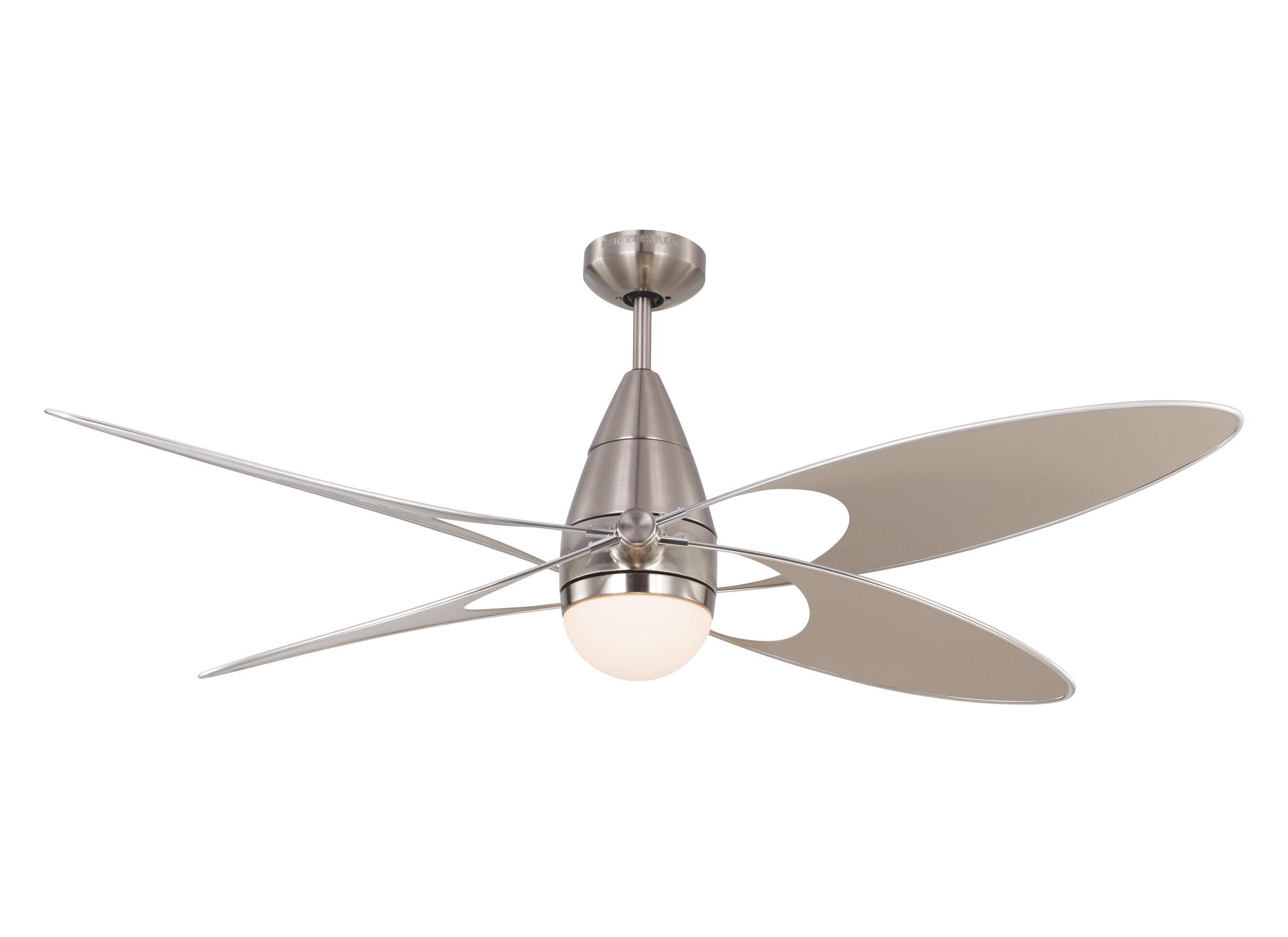 Orren Ellis 54 Clorinda Erfly 4 Blade Outdoor Ceiling Fan With Remote Wayfair