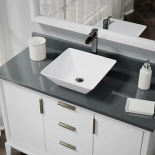 Vitreous China Square Vessel Bathroom Sink with Faucet and Overflow by René