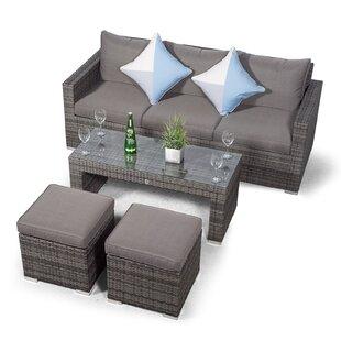 Villatoro Grey Rattan 3 Seat Sofa With 2 Stool Coffee Table, Outdoor Patio Garden Furniture By Sol 72 Outdoor