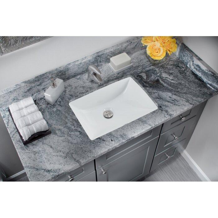 undermount bathroom sink. Glazed Vitreous China Rectangular Undermount Bathroom Sink With Overflow E