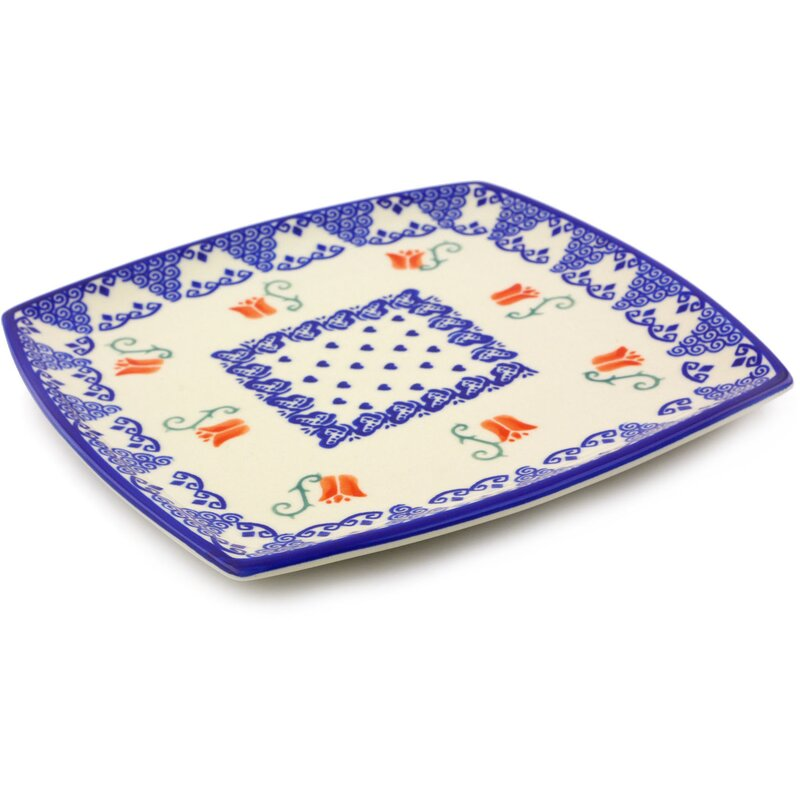 Polmedia Butterfly Tulips Polish Pottery Square Decorative Plate Amazing Polish Pottery Patterns