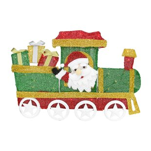choo choo train locomotive with santa claus christmas decoration
