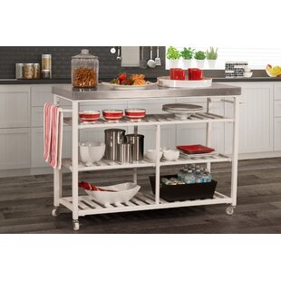 Geary Kitchen Island with Stainless Steel Top August Grove