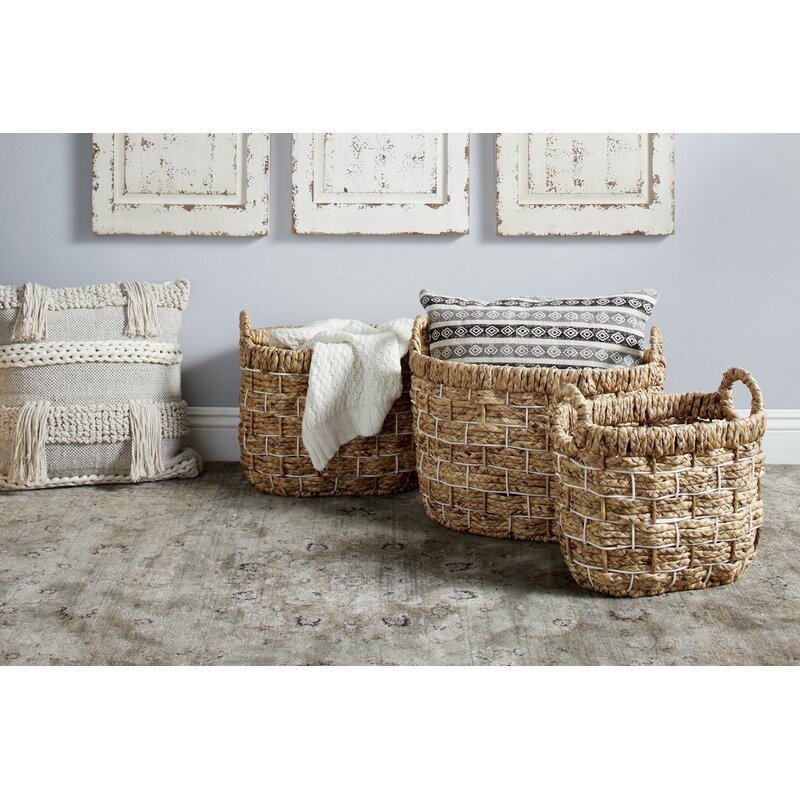 Handmade Oval 3 Piece Wicker/Rattan Basket Set