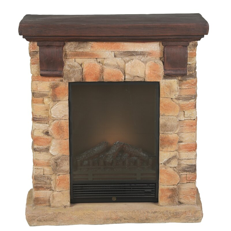 Loon Peak Polystone Brick Free Standing Electric Fireplace Heater Mantel With Remote