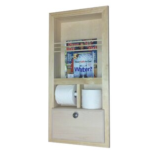 Recessed Magazine Rack With Double Toilet Paper And Storage Cubby