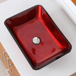 Hand Painted Velvet Glass Rectangular Vessel Bathroom Sink Elite