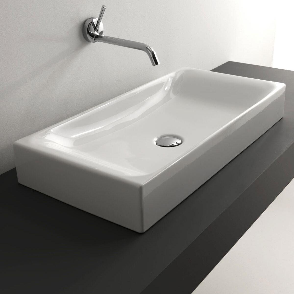 Ws Bath Collections Cento Ceramic Ceramic Rectangular Vessel Bathroom Sink Wayfair