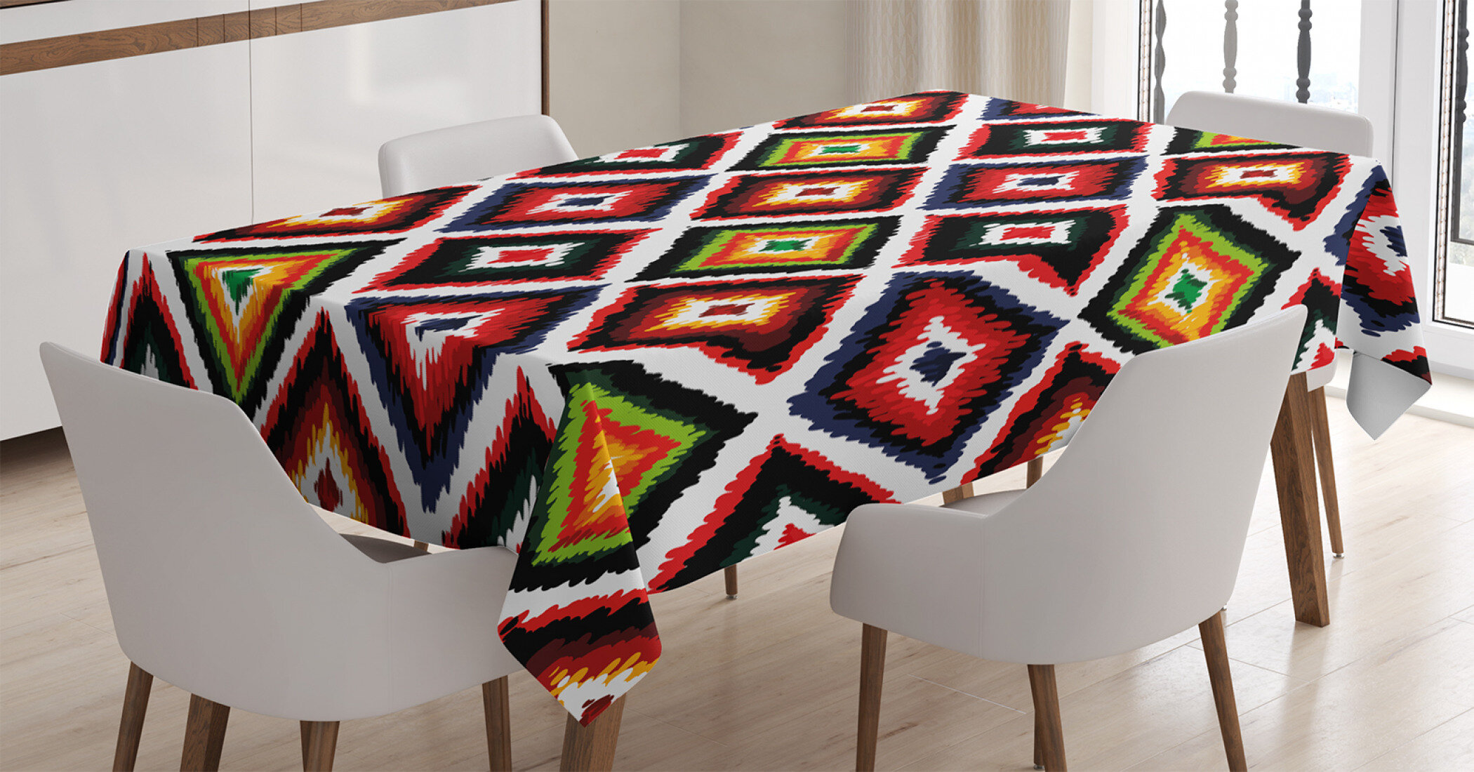 Ambesonne Folk Pattern Tablecloth Table Cover for Dining Room Kitchen