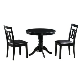 Zion 3 Piece Solid Wood Dining Set Alcott Hill