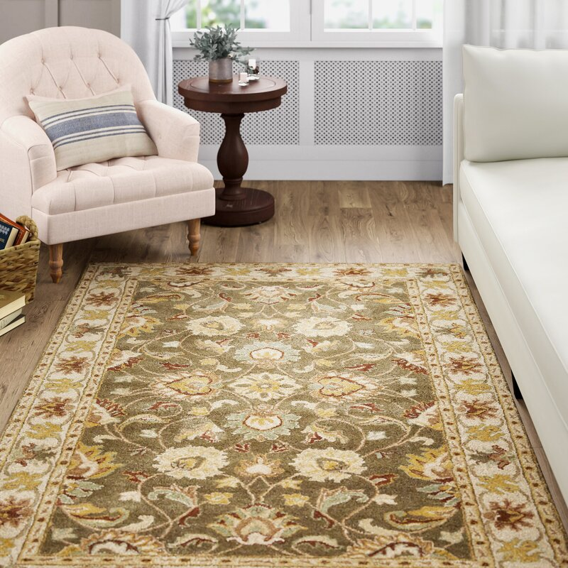 Arden Floral Handmade Tufted Wool Light Charcoal Area Rug Reviews Birch Lane