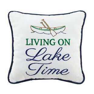 Living on Lake Time Wool Throw Pillow