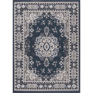 Lilly Oriental Medallion Midnight Blue Area Rug by Astoria Grand