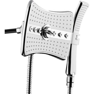 AKDY Rainfall 3 Piece Handheld Shower Head Wand Set Finish: Chrome/White