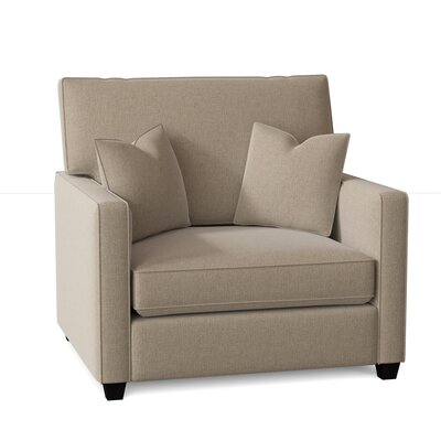 Lokki Armchair Latitude Run Body Fabric: Sugarshack Oatmeal, Throw Pillow Fabric: Archer Domino, Mattress Type: Innerspring Mattress