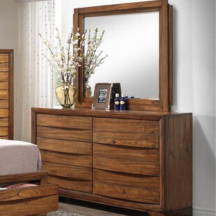 Affordable Russet 6 Drawers Double Dresser with Mirror by Loon Peak