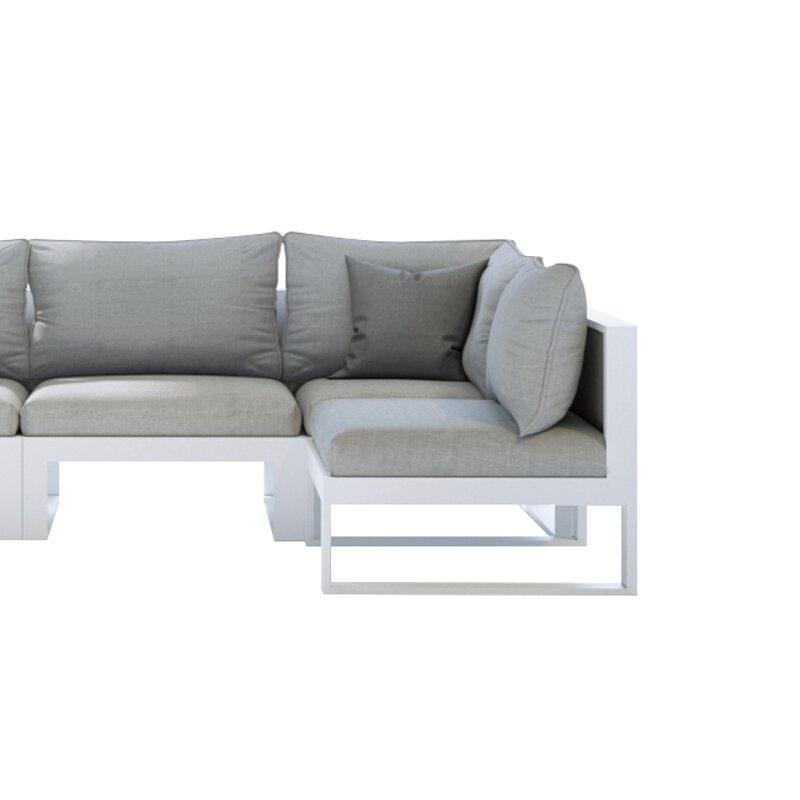 Brayden Studio Dennison Medium Outdoor Sectional Sofa With Cushion Reviews Wayfair