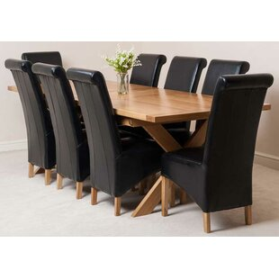 Baldev Kitchen Solid Oak Extendable Dining Set With 8 Chairs By Rosalind Wheeler