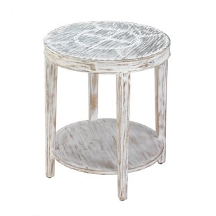 Seward Distressed Round Wood End Table