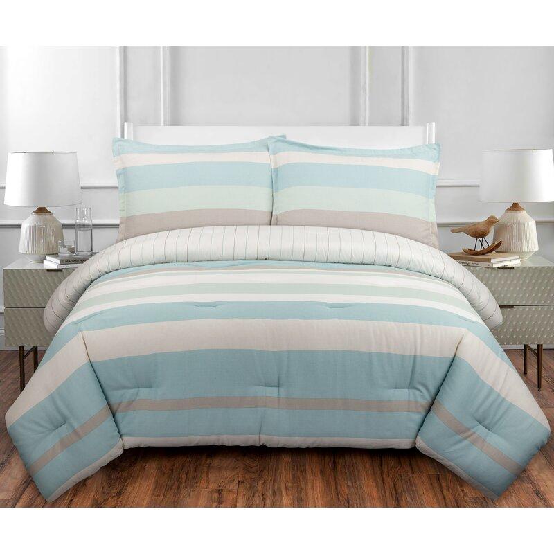 Highland Dunes Sanora Reversible Striped 100 Cotton Comforter Set Reviews Wayfair