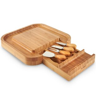 5 Piece Square Slide Out Cheese Board Set