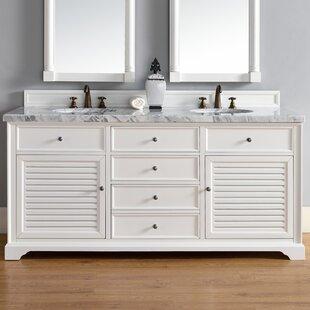 Osmond 72 Double Cottage White Stone Top Bathroom Vanity Set by Greyleigh