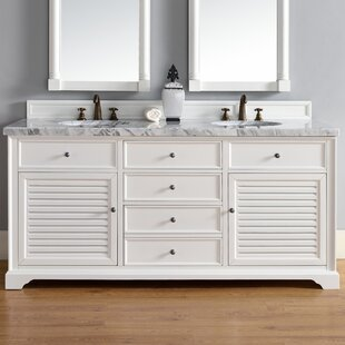 Osmond 72 Double Cottage White Wood Base Bathroom Vanity Set by Greyleigh